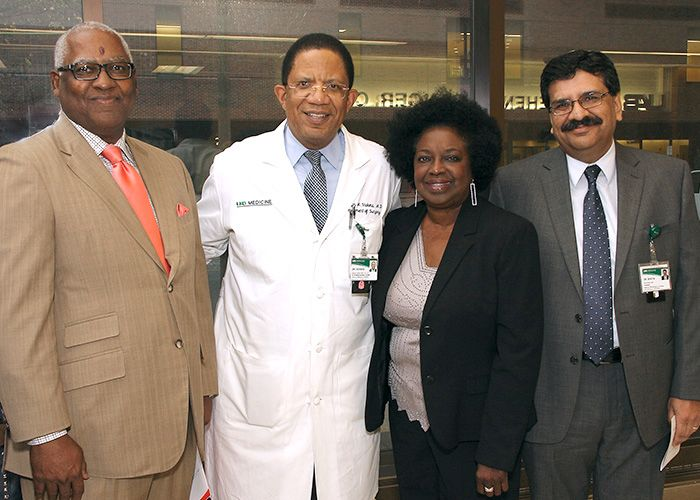 Sickle Cell Foundation Board President Michael Bell with UAB School of Medicine Dean Selwyn Vickers, M.D., Foundation Executive Director Sharon Lewis and Hematology/Oncology Division Director Ravi Bhatia, M.D.